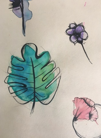 Tatouage végétal Aquarelle