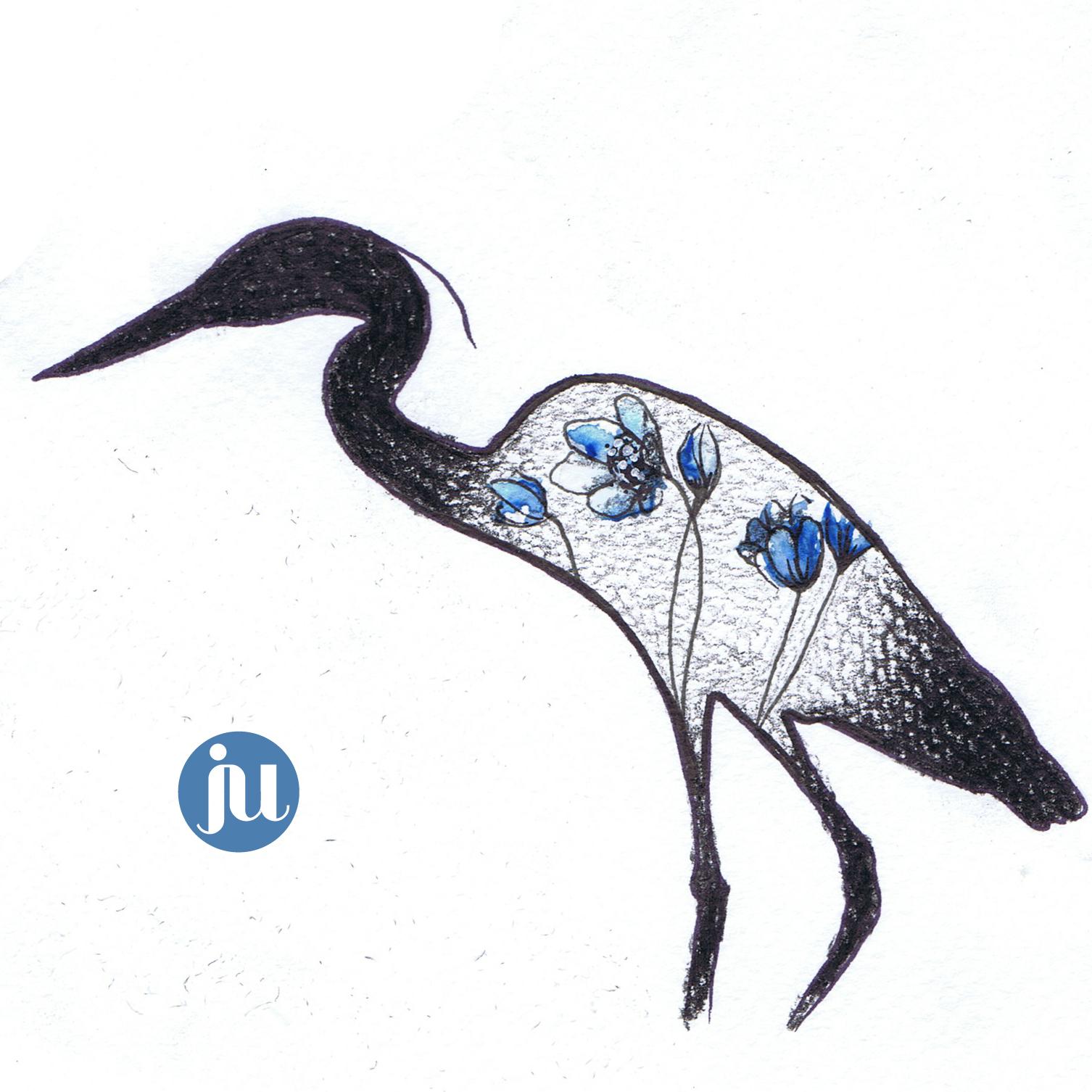 Tatouage oiseau Héron
