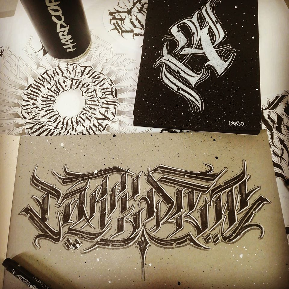 Tattoo flash lettrage carpe diem