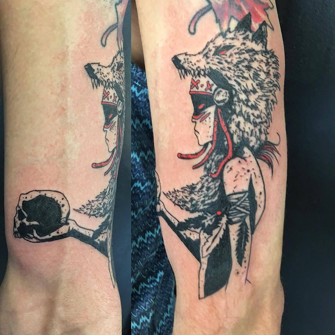 Indienne, tête de loup, skull