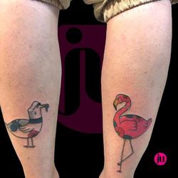 Duo de tatouage mouette et flamand rose