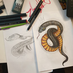 Tattoo flash serpent réaliste couleur