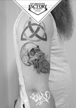 Tatouage skull barbe