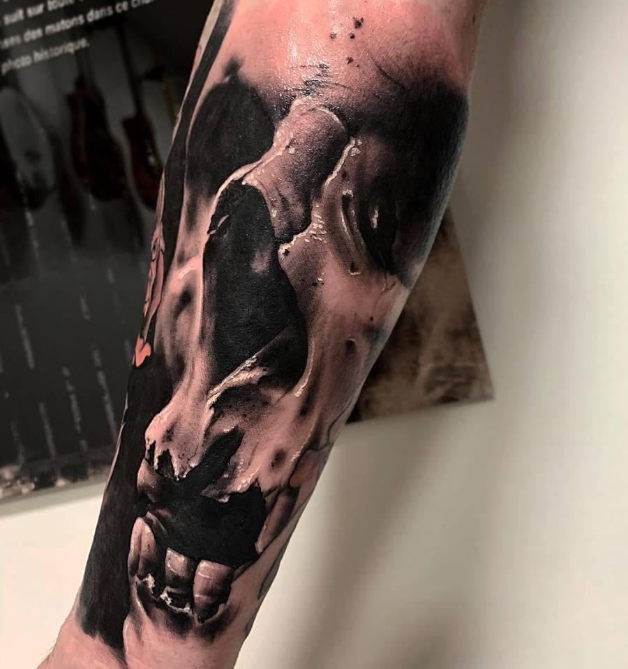 Tatouage réaliste skull