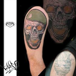 Tatouage skull légionnaire couleurs
