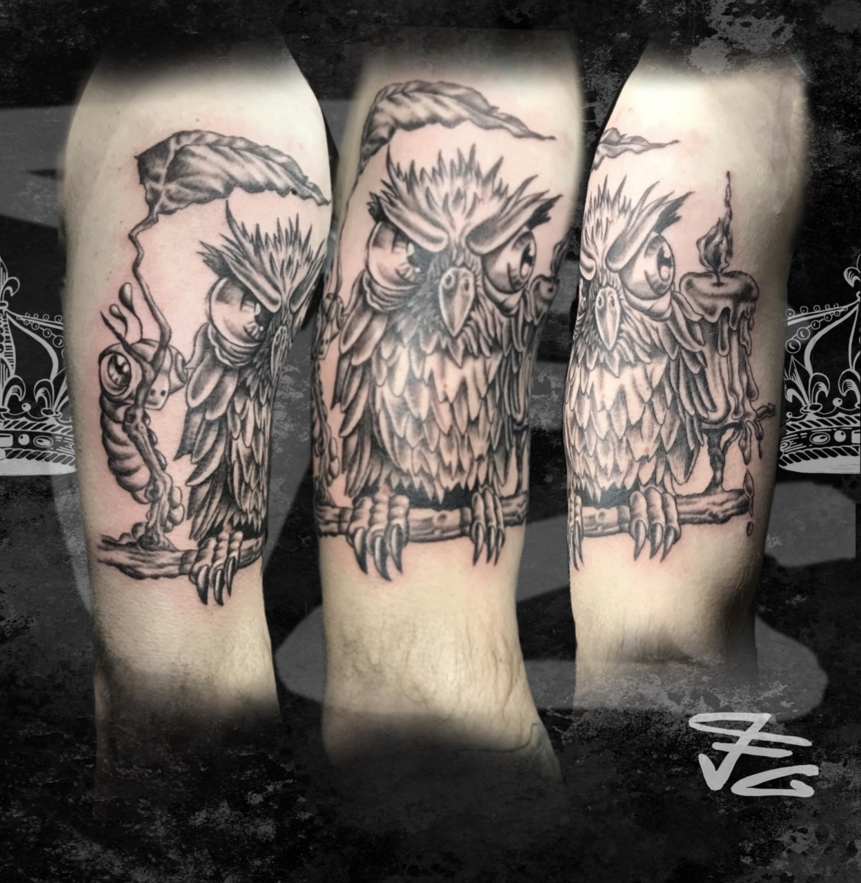 Tatouage hibou style cartoon