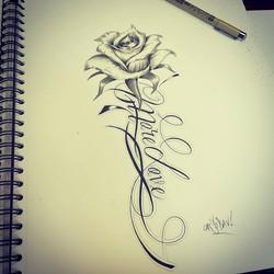 Tattoo flash rose et lettrage