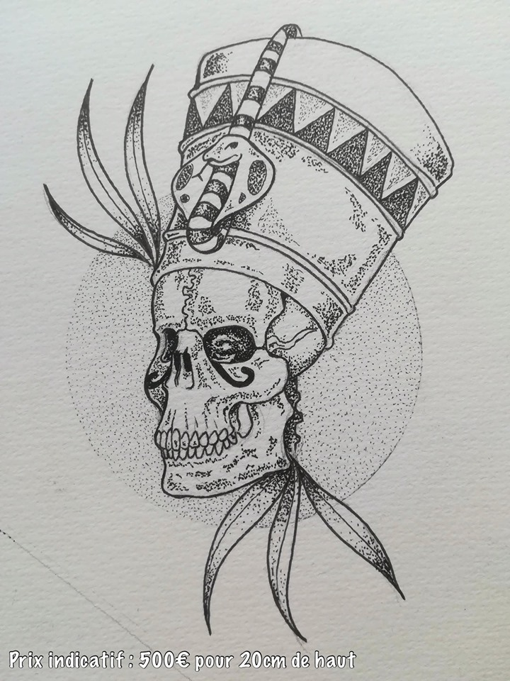 Tattoo Flash pharaon squelette