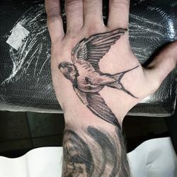 Tatouage hirondelle réaliste sur la main