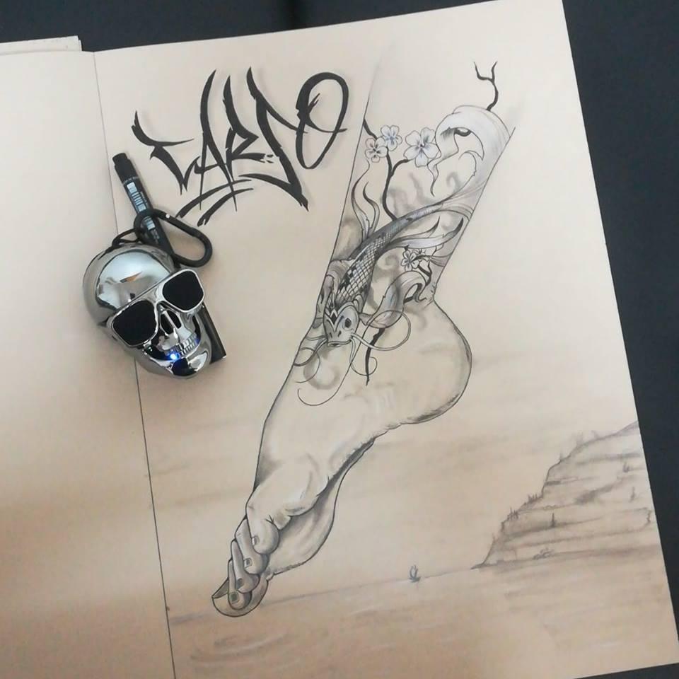tattoo style japonais cheville Carso