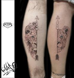 Tatouages graphiques têtes de lions