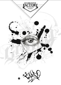 Tattoo flash œil graphique