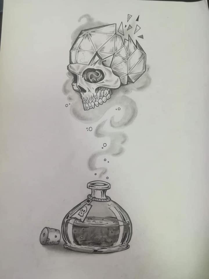 Tatouage flacon et skull