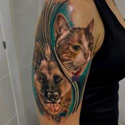 Tatouage portrait chien et chat