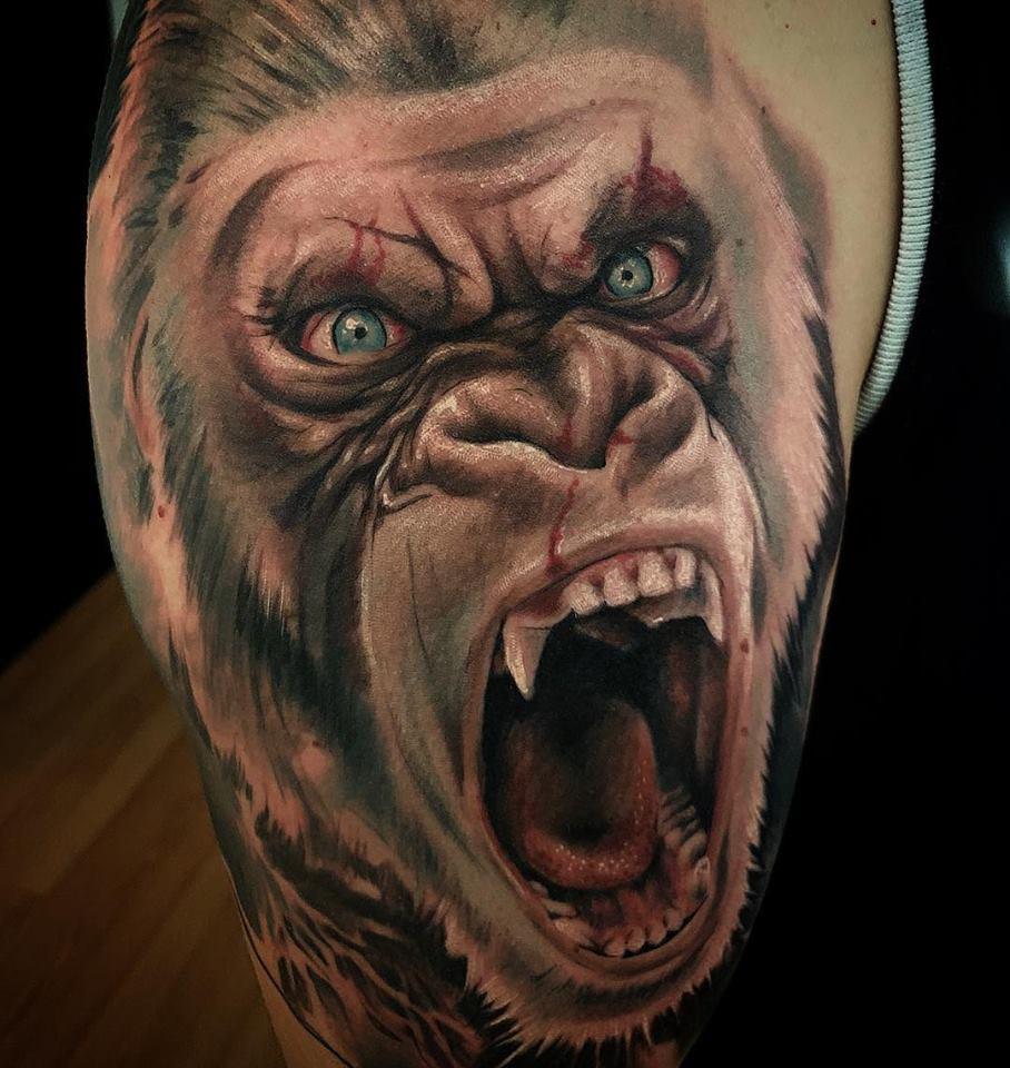 Tatouage gorille réaliste