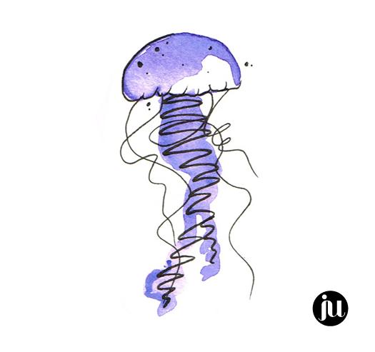 Tatouage méduse aquarelle couleur