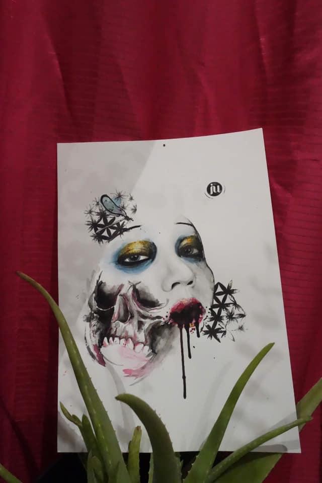 Tattoo Flash visage et skull