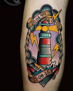 Tatouage old school phare