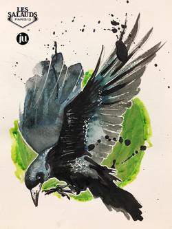 Tattoo flash aquarelle corbeau