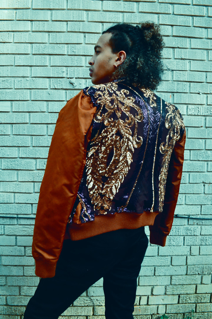 Purple Sequinned Bomber