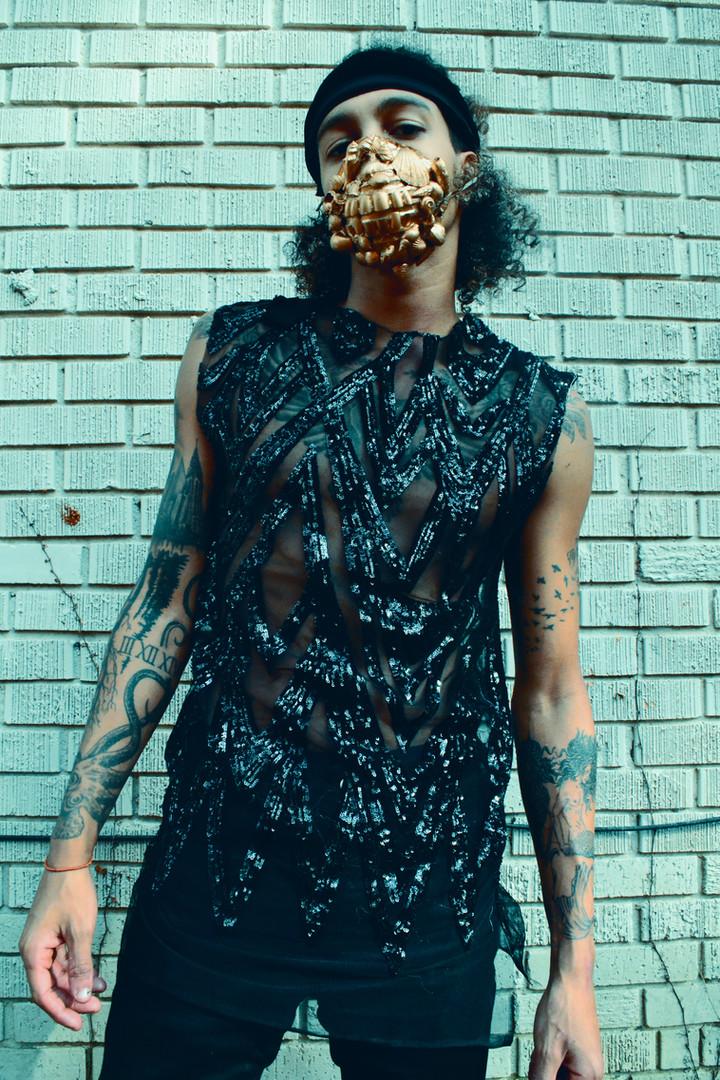 Black Sequinned Tank | Mask
