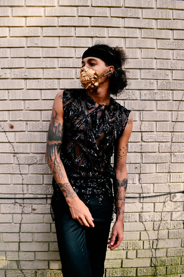 Black Sequinned Tank | Mask