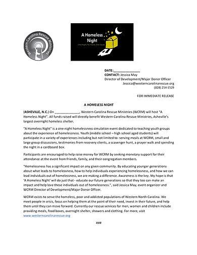 Press Release A Homeless Night (Jessica