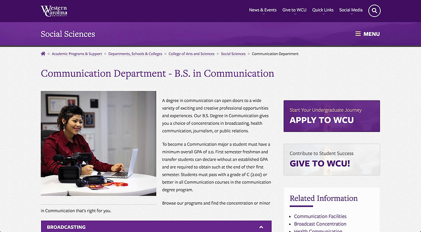 Screen shot of Communication Department page on the Western Carolina University website