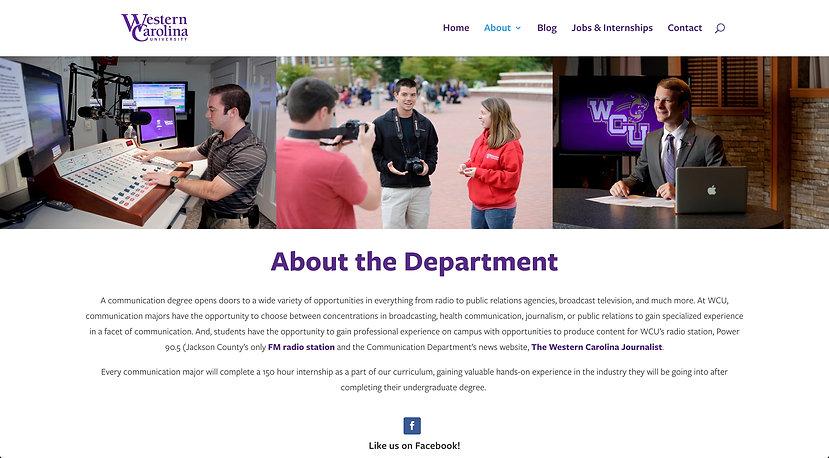 Screenshot of the new WCU Communication Department affiliate website