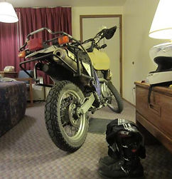 Los Angeles Psychic Medium Brett Carstens has convenient and safe motorcycle parking inside of his motel room in Nevada