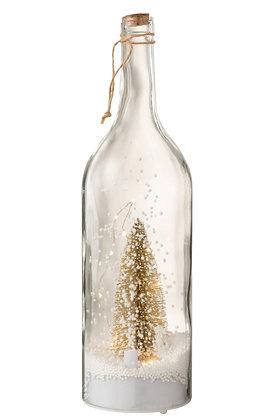 Fles: Kerst Sneeuw Glitter Goud