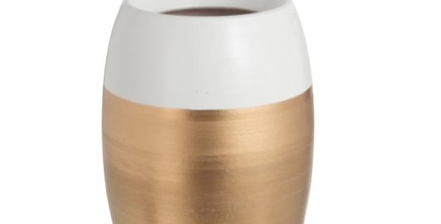 Vaas Terracotta Wit/Goud Large (niet via verzending)