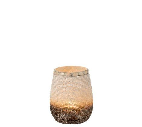 T-licht houder glas & fijne kralen