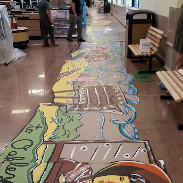 The beginning of the 205 ft mural