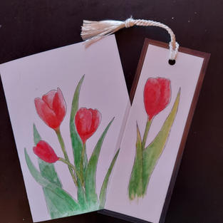 Tulip card with bookmark