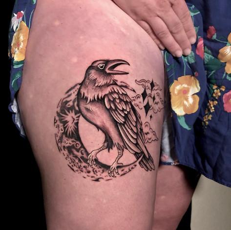 Raven on Moon