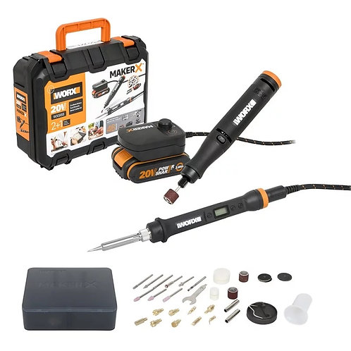 WORX威克士 WX988 MAKER-X 20V磨機+電烙鐵(辣雞)組合套件-Rotary Tool+Wood/Metal Crafter Combo Kit