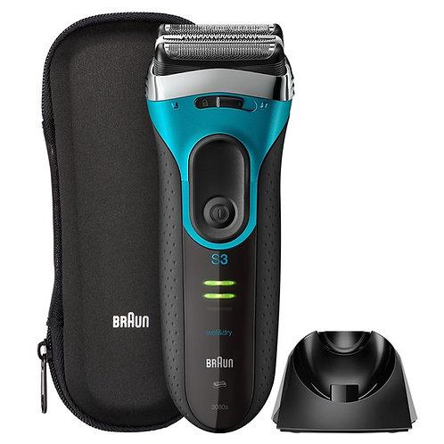 Braun Series 3 ProSkin 3080s Shaver充電式乾濕兩用電鬚刨,帶有充電座,高級銀色