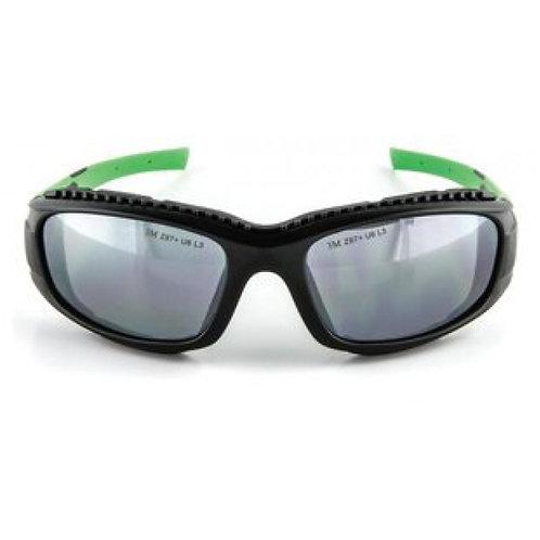 3M™SS1514AS-B 安全太陽眼鏡, 黑/綠框, 防刮鏡片,灰鏡(鏡面) - Safety Sunwear, Black/Green Frame