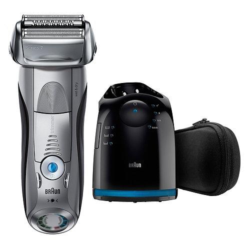 Braun Series 7 7899cc Shaver電動刀網電鬚刨可乾濕兩用,配備提升精凖修剪器、Clean & Charge 系統和旅行盒(銀色)