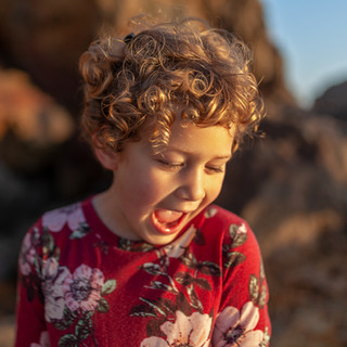 Children portrait beach outdoor on location beach golden hour natural light laugh curls