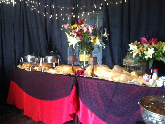 Appetizer table at Grey hound fundraiser event