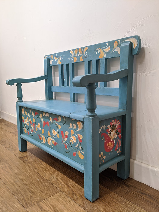 childs bench hand painting romanian folk art