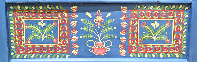 Polish traditional bench hand folk painting