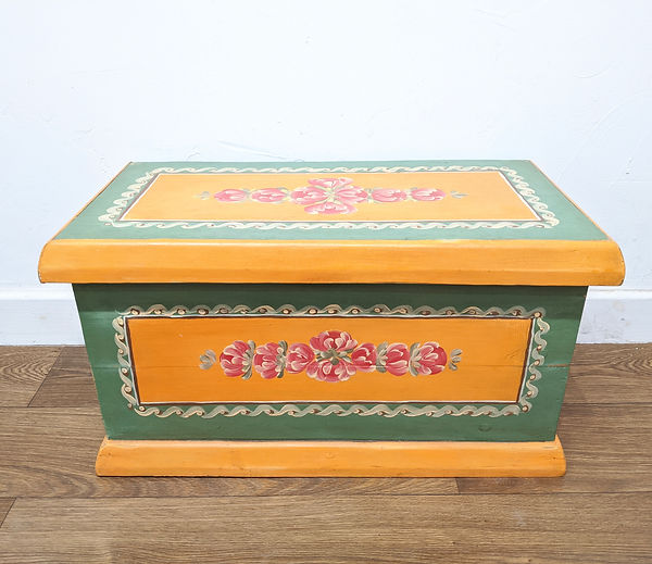 Bavarian style Hope chest Dowry chest hand painted folk art