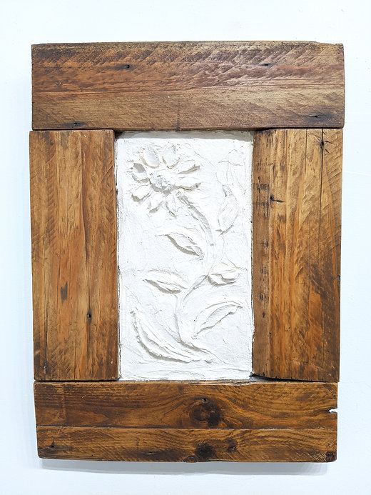 plaster picture naive art style flower reclaimed wood frame