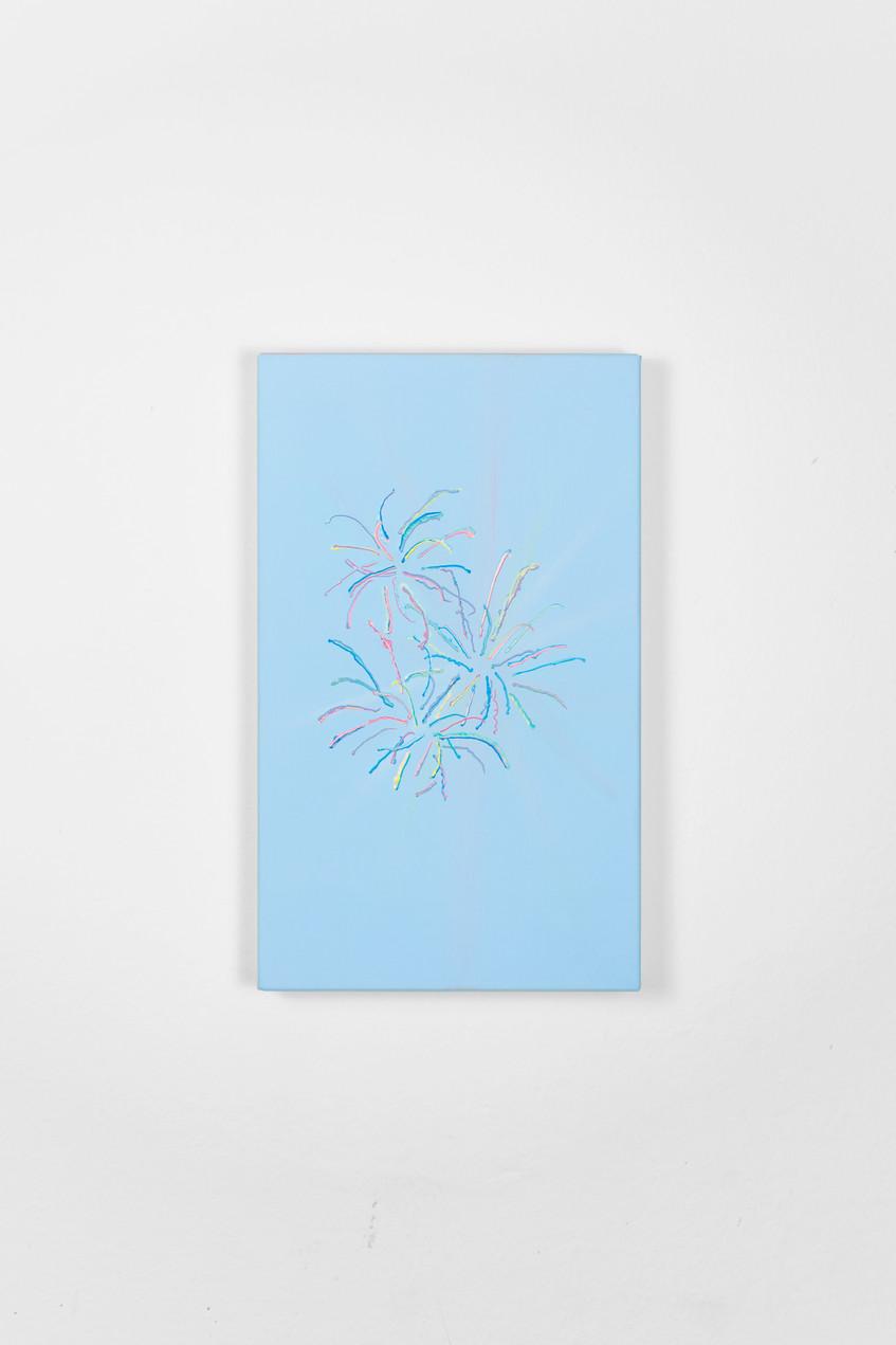 28 - Guendalina Cerruti, Fireworks (Light Blue), 2019, acrylic on canvas, 50x30 cm, Courte
