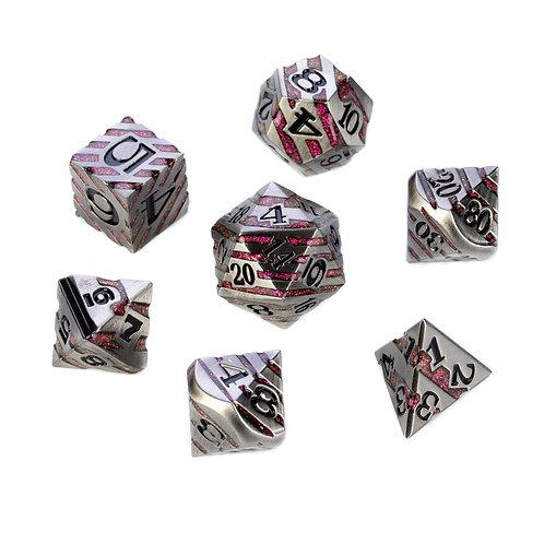 Chevron Series - Silver w. Red Glitter