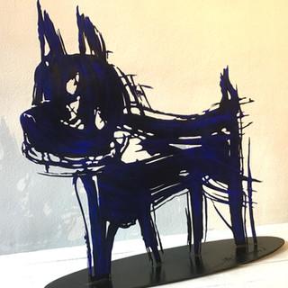 """""""Chien bleu"""" - Sculpture - Acier façonné, patiné - Pièce unique"""