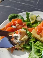 Gaufre saumon crème citron ciboulette